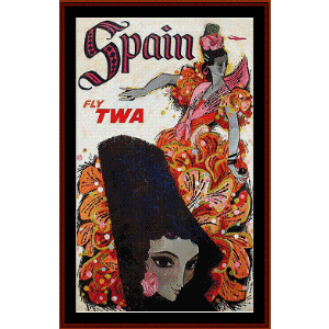 fly twa spain - vintage poster cross stitch pattern by cross stitch collectibles
