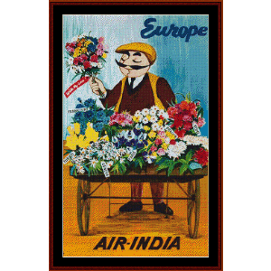 air india - vintage poster cross stitch pattern by cross stitch collectibles