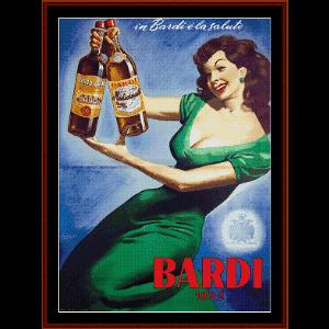 bardi - vintage poster cross stitch pattern by cross stitch collectibles