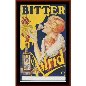 Bitter Astrid - Vintage Poster cross stitch pattern by Cross Stitch Collectibles | Crafting | Cross-Stitch | Wall Hangings