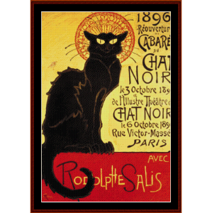 chat noir cabaret - vintage poster cross stitch pattern by cross stitch collectibles