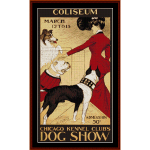 chicago kennel club dog show - vintage poster cross stitch pattern by cross stitch collectibles