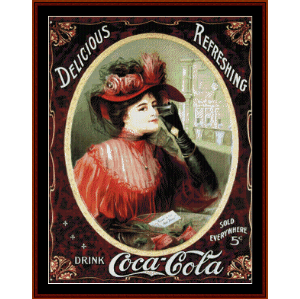 coca cola poster - vintage poster cross stitch pattern by cross stitch collectibles