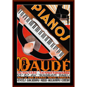daude pianos - vintage poster cross stitch pattern by cross stitch collectibles