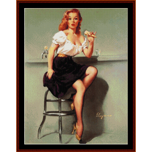 pin-up girl - vintage poster cross stitch pattern by cross stitch collectibles