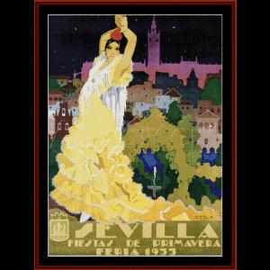 Sevilla - Vintage Poster cross stitch pattern by Cross Stitch Collectibles | Crafting | Cross-Stitch | Other