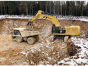 caterpillar excavator in action