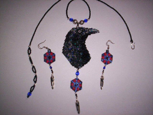 brick stitch raven delica seed beading pendant pattern-439