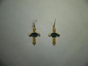 brick stitch eye in cross delica seed beading earring pattern-433