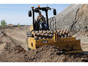 caterpillar soil compactor at the construction site