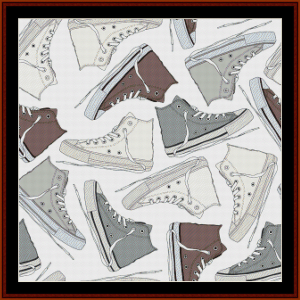 abstract footwear 1 - abstract cross stitch pattern by cross stitch collectibles