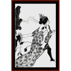 cinesias entreating myrrhina - beardsley cross stitch pattern by cross stitch collectibles