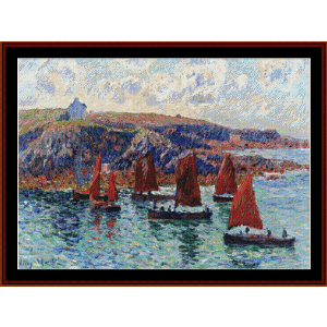 fishing boats, finistere - moret cross stitch pattern by cross stitch collectibles