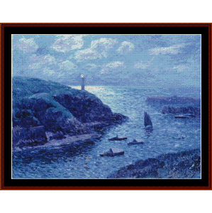 port of dolan, night - moret cross stitch pattern by cross stitch collectibles