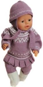 dollknittingpatterns 0142d bella - tuniek met een plooirand, kousenbroek, witte schoentjes in ribbelsteek, muts-(nederlands)