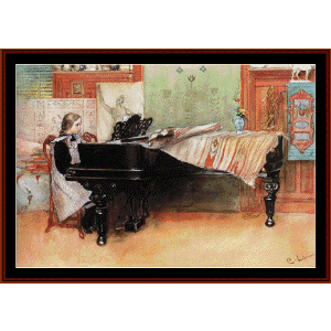 playing scales - larsson fine art cross stitch pattern by cross stitch collectibles