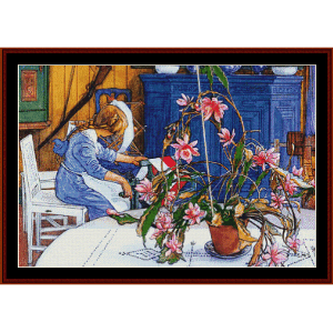 spinning wheel - larrson fine art cross stitch pattern by cross stitch collectibles