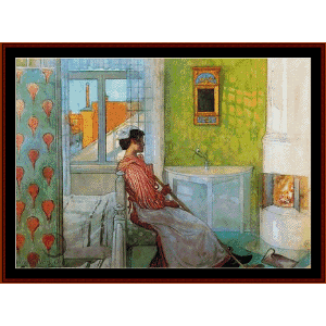 martina in front of the fire - larsson cross stitch pattern by cross stitch collectibles