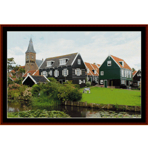 landscape with cow cross stitch pattern by cross stitch collectibles