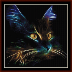 cat - abstract cross stitch pattern by cross stitch collectibles
