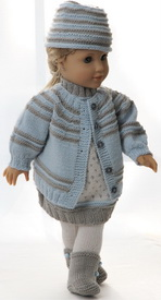 dollknittingpattern 0143d sophia (february)-sweater, dress, pants, cap and shoes-(english)