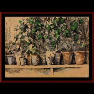 Flower Pots - Cezanne cross stitch pattern by Cross Stitch Collectibles | Crafting | Cross-Stitch | Wall Hangings