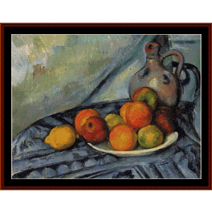 fruit and jug on table - cezanne cross stitch pattern by cross stitch collectibles