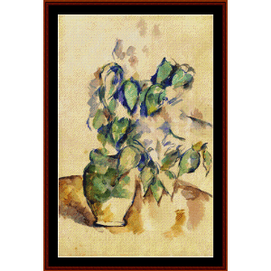 leaves in a green pot - cezanne cross stitch pattern by cross stitch collectibles