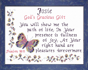 Name Blessings - Josie | Crafting | Cross-Stitch | Religious