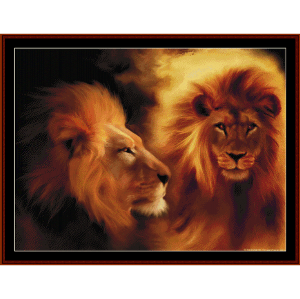 lion portraits cross stitch pattern by cross stitch collectibles
