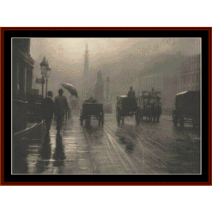 rainy waterloo place, london cross stitch pattern by cross stitch collectibles