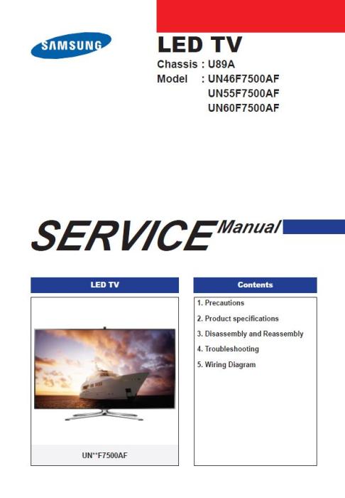 First Additional product image for - Samsung UN46F7500 UN46F7500AF UN46F7500AFXZA 3D Smart LED TV Service Manual