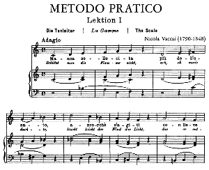 vaccai practical method for medium voice .edition peters (italian/german). first lesson in c major. 39 pp. high resolution scans 600 dpi.