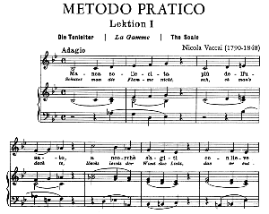vaccai practical method for low voice (mezzo/baritone). edition peters (italian/german). first lesson in b-flat major. 39 pp. high resolution scans 600 dpi.