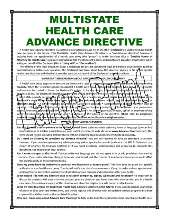 First Additional product image for - LARGE PRINT - MULTISTATE Health Care Advance Directive