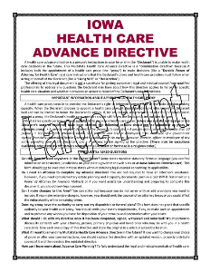large print iowa health care advance directive