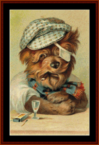 after a hard day - vintage dog cross stitch pattern by cross stitch collectibles