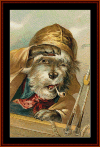 ahoy - vintage dog cross stitch pattern by cross stitch collectibles