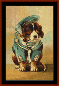 little sailor - vintage dog cross stitch pattern by cross stitch collectibles