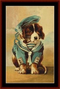 little sailor - vintage dog cross stitch pattern by cross stitch collectibles