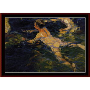 Swimmers, 1905 - Joaquin Sorollo cross stitch pattern by Cross Stitch Collectibles | Crafting | Cross-Stitch | Wall Hangings