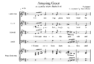 amazing grace - satb a cappella with piano reduction