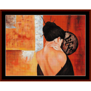 alone - vintage asian art cross stitch pattern by cross stitch collectibles