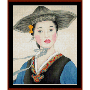 woman in gray hat - vintage asian art cross stitch pattern by cross stitch collectibles