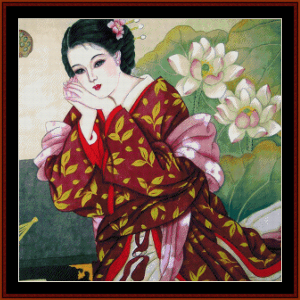 woman with lotus blossoms - vintage asian art cross stitch pattern by cross stitch collectibles
