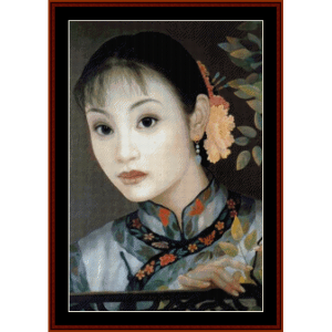 woman with flower in hair - vintage asian art cross stitch pattern by cross stitch collectibles