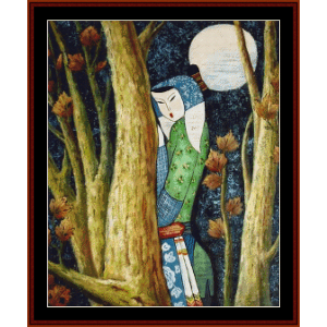 in the moonlight - vintage asian art cross stitch pattern by cross stitch collectibles