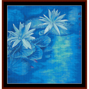 waterlilies - vintage asian art cross stitch pattern by cross stitch collectibles