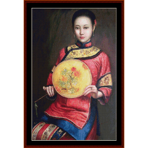 Woman with Fan - Vintage Asian Art cross stitch pattern by Cross Stitch Collectibles | Crafting | Cross-Stitch | Wall Hangings