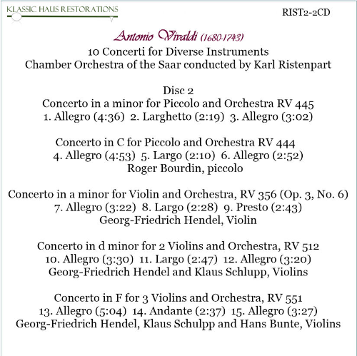 Second Additional product image for - Karl Ristenpart conducts Vivaldi - Chamber Orchestra of the Saar